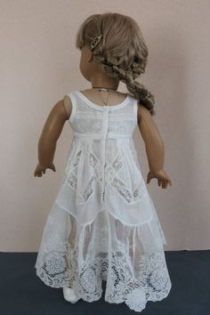 American Girl Doll Clothes -- White Sleeveless Nightgown or Slip from Vintage Lace Petticoat -- AC82. This incredible slip closes in back with snaps.