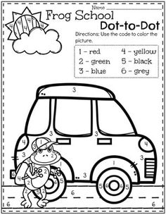 Preschool Transportation Theme Color by Number Worksheets Transportation Preschool Activities, Transportation Worksheet, Preschool Games, Preschool Worksheets, Kindergarten Activities, Number Worksheets, Preschool Learning, Learning Resources, Teaching Ideas