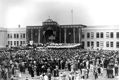 The University of San Francisco's Diamond Jubilee celebration in 1930 included an open-air Mass on campus before a colossal altar. Mass was held at the St. Ignatius High School Stadium, the current site of Negoesco Stadium, adjacent to what is now the Koret Health and Recreation Center of the University of San Francisco. via UNIVERSITY OF SAN FRANCISCO ARCHIVES