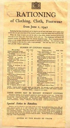 Rationing for clothing, cloth, and footwear from June 1, 1941.