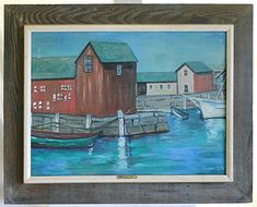 Excited to share this item from my shop: Painting Gloucester Mass 1964 Waterfront Rockport Marine Vintage Modernist Florence Lutz Seaport Waterfront Architecture Maritime Folk Art Modern Oil Painting, Art Paintings For Sale, California Art, Mid Century Modern Art, Art Oil, Figurative Art, Folk Art, Original Artwork, Gloucester