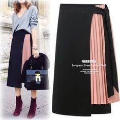 Gmarket - NIBBUNS Pleated skirt + wrap skirt set / long waist. Yibaka 2017  European and American style temperament chiffon stitching high ... 88193f6c28390