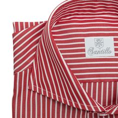Santillo 1970 Made in Italy Shirt NEWMAN - Red with White Stripes. Shop it at WWW.FINAEST.COM  #finaest #santillo #santillo1970 #shirts #italianshirt #handmade #madeinitaly #quality #pitti #pittiuomo #menswear #style #camicia #redwhite #stripes
