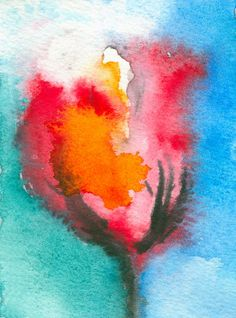ACEO Tulip Floral Abstract Watercolor Painting - Limited Edition Miniature Art Print