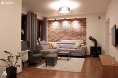Home Room Design, Living Room Designs, House Design, Brick Interior, Small Apartment Design, Modern Bedroom Decor, Home Living Room, Living Room Brick Wall, House Rooms