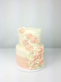 Pink Wedding Cakes Peach and white ombre wedding cake with buttercream rosettes Diy Wedding Cake, Wedding Cake Photos, Wedding Cakes With Cupcakes, Wedding Cake Designs, 16 Birthday Cake, Pretty Birthday Cakes, Pretty Cakes, Beautiful Cakes, Buttercream Cake Designs