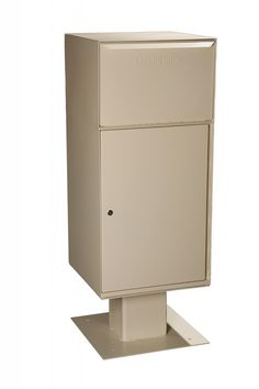 """Collection Vault on Pedestal Dimensions—19"""" W x 40"""" H x 19"""" D Weight—86.5 Lbs. Capacity—Extra Large Maximum Package Size Dimensions 16.9"""" W x 9.25"""" H x 12"""" D Model Number DVCS0023"""