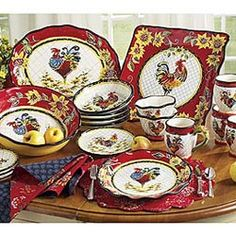 Chanticleer Rooster Dinnerware I know you like blue n white but this one is kinda cool.