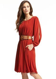 ELLEN TRACY Long Sleeve Belted Sheath Dress