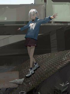 """PainDude🥔手痛 on Twitter: """"✈️… """" Art Anime, Anime Art Girl, Anime Guys, Neko, Manga Girl, Aesthetic Art, Aesthetic Anime, Fille Anime Cool, Anime Scenery"""