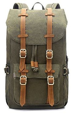 502c96bdf3 EverVanz Outdoor Canvas Leather Backpack Travel Hiking Camping Rucksack Pack   fashion  clothing  shoes