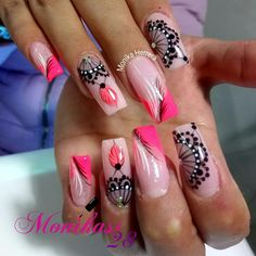 Very pretty nail art idea in pink #nailart