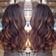 red highlight on brunette hair