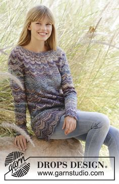 "Knitted DROPS jumper with zig-zag and round yoke in ""Fabel"". Free Pattern"