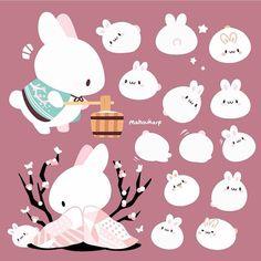 Cute Kawaii Animals, Cute Animal Drawings Kawaii, Cute Drawings, Kawaii Chibi, Kawaii Art, Kawaii Bunny, Wallpaper Kawaii, Animal Doodles, Bunny Art
