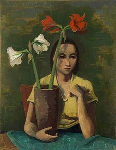 KARL HOFER  Mädchen mit Amaryllis (Girl with Amaryllis, c.1936)