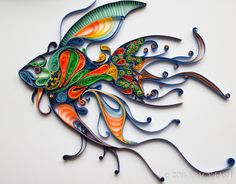 """Icthy"" the Quilled Fish. Original quilled artwork by artist Stacy Bettencourt…"