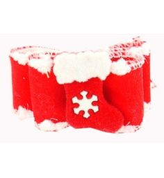 "Dog Christmas Bow Red Stocking 7/8"""