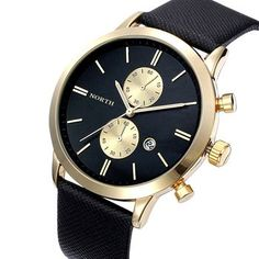 1PC Fashion Men Casual Waterproof Date Leather Military Japan Watch Gift