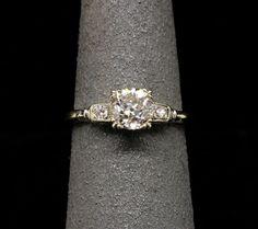 Gorgeous <3 Art Deco 14k White Gold and Diamond Ring - .78 Carat Center Diamond - Old European Cut