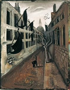 The Desolate Street (The cat that walks alone) |  oil painting, 1928 | Felix Nussbaum