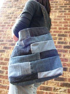 Patchwork Denim purse/tote/grocery bag Recycled by WholeGreyn