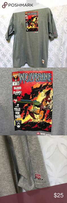 """Ecko unltd Marvel Comics """"Bling"""" Wolverine Tee Rare! Ecko unltd Marvel Comics """"Bling"""" Wolverine Tee.               PLEASE READ down sizing husband Tee collection ❌ Pre owned! Used condition! No rips or tears, Please See all Pictures!!!!! Measurements Laying Flat Size 🔹 XL Armpit to Armpit 🔹25"""" Shoulder to Hem 🔹 32"""" Bundle to Save 🤓 Sorry NO outside transactions 🚫 NO trades 🚫 Reasonable Offers welcomed 👍 NO Low balling 👎 NO Holds👎 All items from a pet 😼and Smoke Free Home  Happy…"""