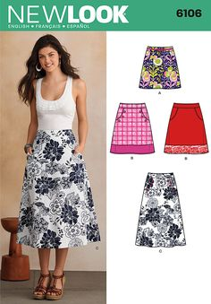 Simplicity 6106 Misses' Skirts  Misses' A-Line skirt in three lengths with pockets. New Look sewing pattern.