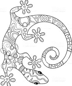 Vector Tribal Decorative Lizard royalty-free vector tribal decorative lizard stock vector art & more images of abstract mexicano alebrijes Vector Tribal Decorative Lizard. Adult Coloring Pages, Animal Coloring Pages, Colouring Pages, Coloring Books, Tribal Animals, Quilling Designs, Mandala Coloring, Mandala Art, Mandalas To Color