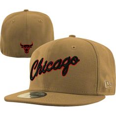 4c4f951b561 Chicago Bulls Fashion Script New Era 59FIFTY NBA Team Exclusive Fitted Hat  - Wheat  36.99 Nba