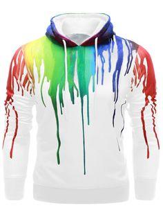 Drawstring Paint Dripping Hoodie - White - S - WHITE S