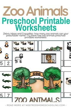 Zebra, Hippo, and Crocodiles- how many zoo animals can your preschooler name? Try these free zoo animals preschool printable worksheets #FREEPRESCHOOLPRINTABLEWORKSHEETS #zoopreschooltheme #preschooltheme #freepreschoolprintable Printable Handwriting Worksheets, Printable Preschool Worksheets, Printable Worksheets, Preschool Zoo Theme, Free Preschool, Kindergarten Books, Kindergarten Worksheets, Reading Worksheets, Zoo Book