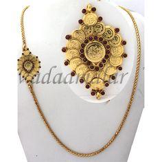Gold plated Long Chain Kodi mugappu side pendant for Sarees Ethnic India Jewelry