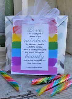 March 2018 Visiting Teaching Message. I love this rainbow quote from President Hinckley. And the cute little rainbows make it perfect for St. Patrick's Day. Free printable.