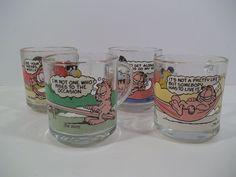 GARFIELD & ODIE Glass Mugs from McDonalds SET of 4 - Artwork by Jim Davis - 1979