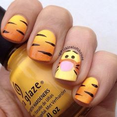 A Cute Tiger Nail Art ❤️ Simple and easy acrylic or gel Disney nails design ideas to wake up your inner princess. ❤️ See more: naildesignsjourna… – nageldesign. Nail Art Disney, Disney Acrylic Nails, Disney Nail Designs, Cartoon Nail Designs, Disney Toe Nails, Easy Nail Art Designs, Trendy Nail Art, Cute Nail Art, Tiger Nail Art