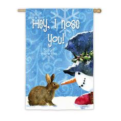 IAmEricas Flags - Snowman and Bunny Suede Reflections House Flag, $24.00 (http://www.iamericasflags.com/products/snowman-and-bunny-suede-reflections-house-flag.html)