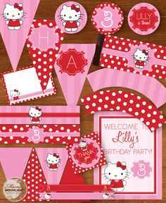 Hello Kitty Printable Digital Birthday Party Package DIY - Pink and Red Valentine's Colors. $20.00, via Etsy.