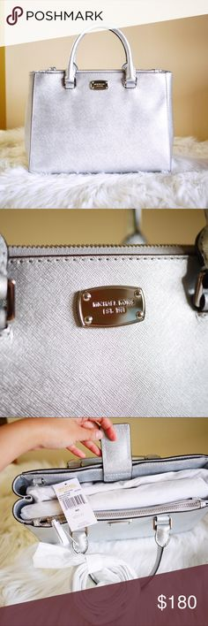 """Michael Kors Kellen in Silver Brand new with tag $319 Authentic Michael Kors Kellen Satchel/Crossbody.  Medium; Measurements: 14""""x10""""x5"""" Color: Silver Material:Saffiano Leather  Main compartment and additional hidden zipper pocket and magnetic snap pocket Double rolled handles with 5"""" drop Additional Removable & adjustable longer crossbody strap Michael Kors logo Plate adorns front of bag Metal Feet on bottom of Bag for added Protection Interior has MK signature lining with 1 zipper pocket…"""