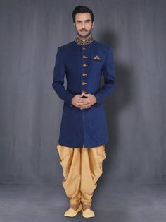 Mens Raw Silk Jade Blue Sherwani Wedding Indo Western With Harem Mens Indian Wear, Indian Groom Wear, Indian Men Fashion, Indian Man, Mens Fashion, Groom Fashion, Fashion Outfits, Wedding Dresses Men Indian, Wedding Dress Men