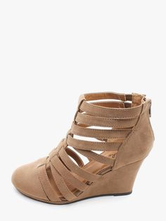 TAUPE Strap O Mania Closed Toe Wedges | $10.00 | Cheap Trendy ...