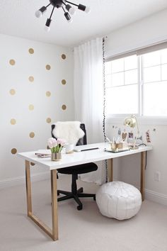Gold and Girly Home Office Desk. Sometimes we need to bring work home. A home office is very essential in home decor. But we doesn't need to spend much on it. Here is a perfect DIY home office desk for girls.