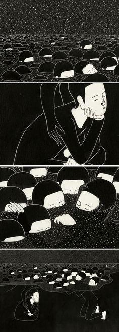 Thema. Masse (und Macht), Konformität und ertrinken dann. Ich meine es nicht so esoterisch, wie es klingt.  Daehyun Kim - 말더듬이 (A Stammerer), 2012 http://www.moonassi.com/