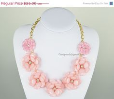 Pink Bubble Necklace,Pink Statement Necklace,Flower Necklace,Pink Bubble Necklace,Gem Resin Crystal Rhinestone Necklace(CN0043-Pink)