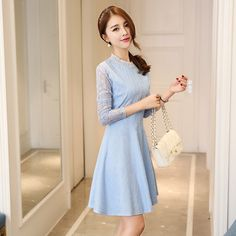 #Price: $13.33 Korean New Turtle Neck Lace Dresses (Azure/Red)