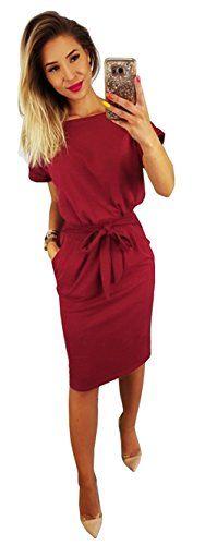99152a477a8c Longwu Vêtements à Manches Courtes Élégant pour Les Femmes au Travail Robe  Crayon Occasionnel avec Ceinture