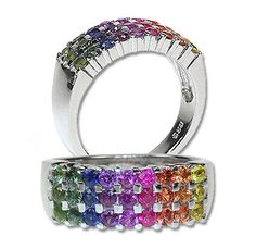 Rainbow Sapphire Ring... This would go perfectly with the rainbow Sapphire bracelet I want!!