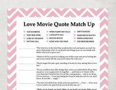 INSTANT Love Quote matchup- Instant Download - Bridal Shower Game - Bubblegum Pink Chevron