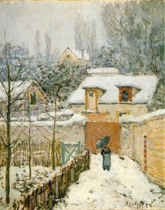 Alfred Sisley, Louveciennes garden in the snow