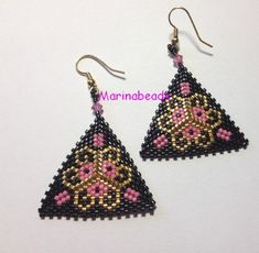 Triangle Earrings by MarinaBeads06 on Etsy